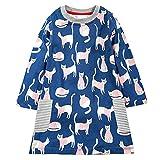 VIKITA Toddler Girl Animal Stripe Cotton Long Sleeve Dress Baby Girls Winter Casual Dresses 2-8 Years (5T, AB1027)