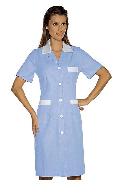 Isacco-Bata De trabajo Positano, diseño De rayas, color blanco, 100% algodón, color azul: Amazon.es: Ropa y accesorios