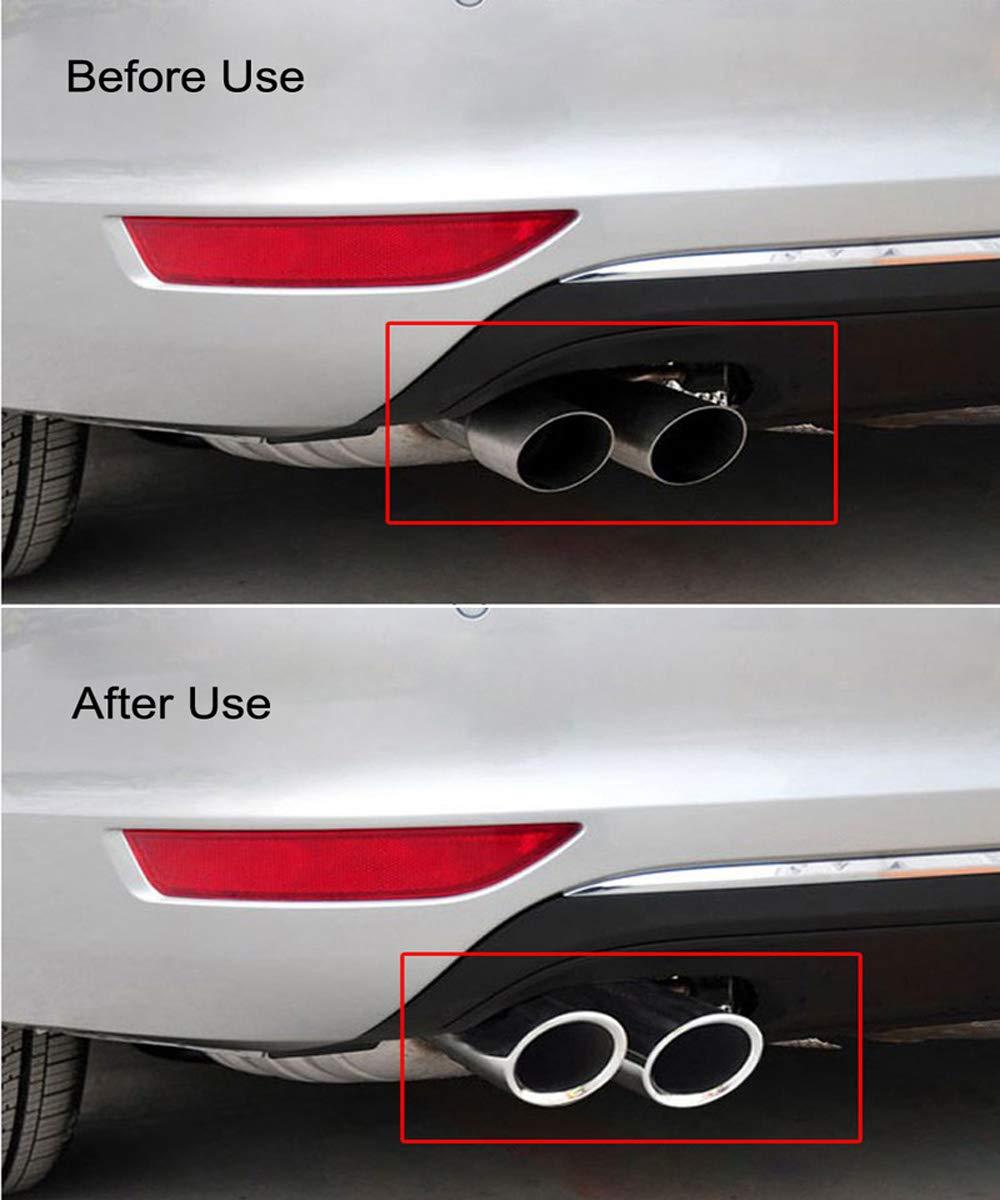 Argento #7.6cm VW Volkswagen PASSAT TIGUAN 2012-2015 2 Pz//set Chrome Placcatura In Acciaio Inox Auto Marmitta Marmitta Tubi Coperture per Audi A1 A3 A4 TT 2009-2015