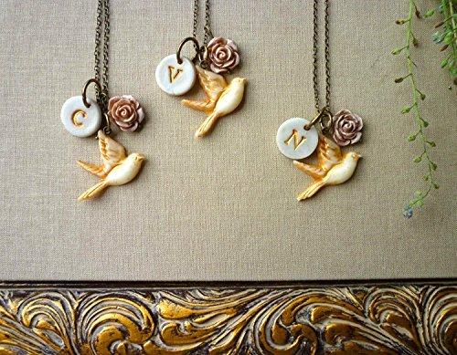 Bridesmaids Necklaces   Amazon Com Bird Bridesmaids Necklaces Set Of 3 Dove Monogram