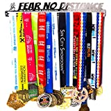 Medal Display + Fear No Distance + Medal Display Rack 30+ Medals Marathon, Running, Race, Sports Medals