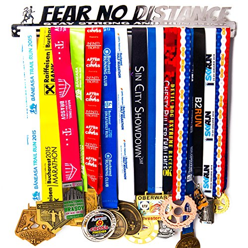 Medal Hanger + Fear No Distance + Medal Display Rack For 30+ Medals + For Marathon, Running, Race, Sports Medals (Duty Heavy Solid Race)