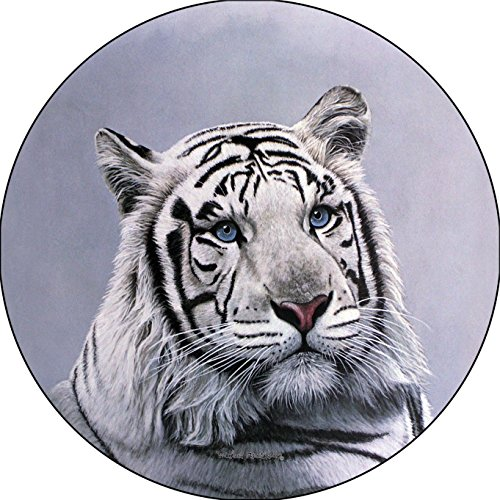 White Tiger Head Blue Sapphire Eyes Spare Tire Cover for 205/75R14 Jeep RV Camper VW Trailer etc(Select popular sizes from drop down menu or contact us-ALL SIZES AVAILABLE)