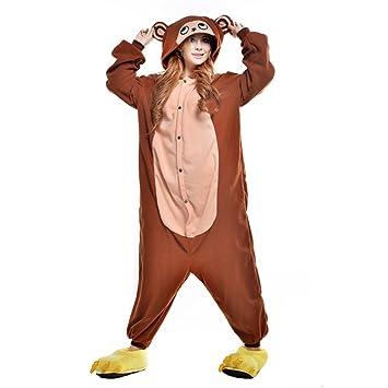 JINZFJG Pijamas Siameses de Franela Dibujo Animado Hombre/Mujer Pijama Disfraz Cosplay, Mono marrón