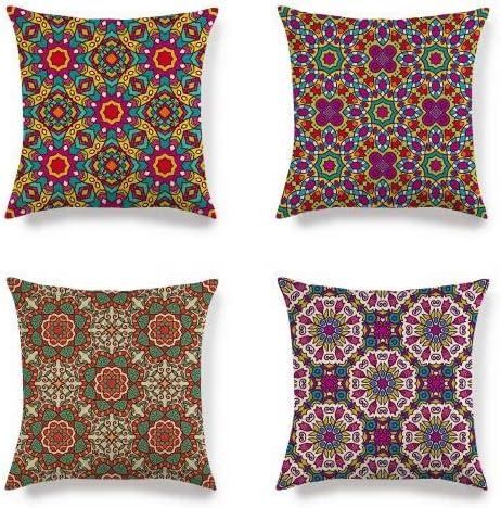 Image ofFundas de almohada de lino y algodón suave decorativas de Caogsh, 45 x 45 cm, cuadradas, para sofá, asiento de coche, fundas de cojín (estilo étnico retro bohemio)