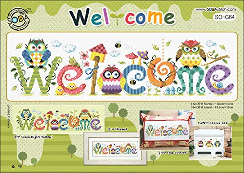 Chart Stitch Cross Welcome (SO-G64 Welcome, SODA Cross Stitch Pattern leaflet, authentic Korean cross stitch design chart color printed on coated paper)
