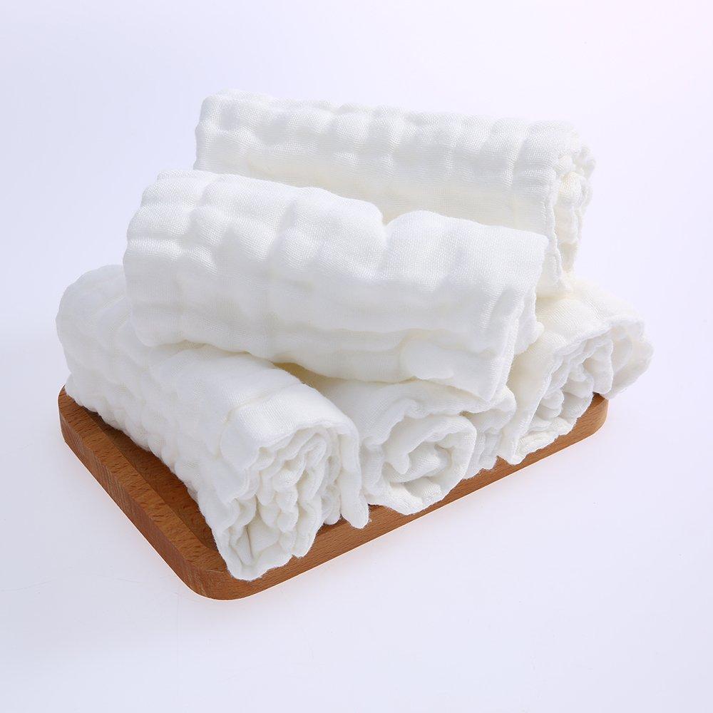 Decdeal Asciugamano per Neonati 5Pz 100% Cotone Organico Mussola Garza Morbida Salviette per Neonati Panno Burp per Neonato Stampa Bambino