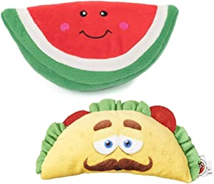 ZippyPaws Watermelon Plush Squeaker Dog Toy & SPOT Fun Food Taco Bundle - Plush Toys for Dogs and Cats!