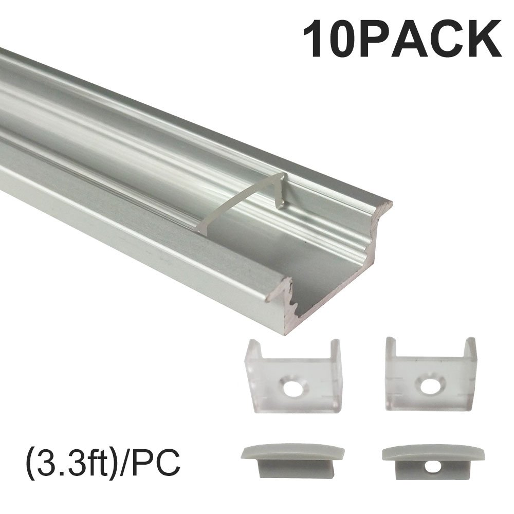 inShareplus U Shape LED Aluminum Channel System With Transparent Cover, End Caps and Mounting Clips, Aluminum Profile for LED Strip Light Installation, U01 Model, 10 Pack, 3.3ft/1 Meter, Silver