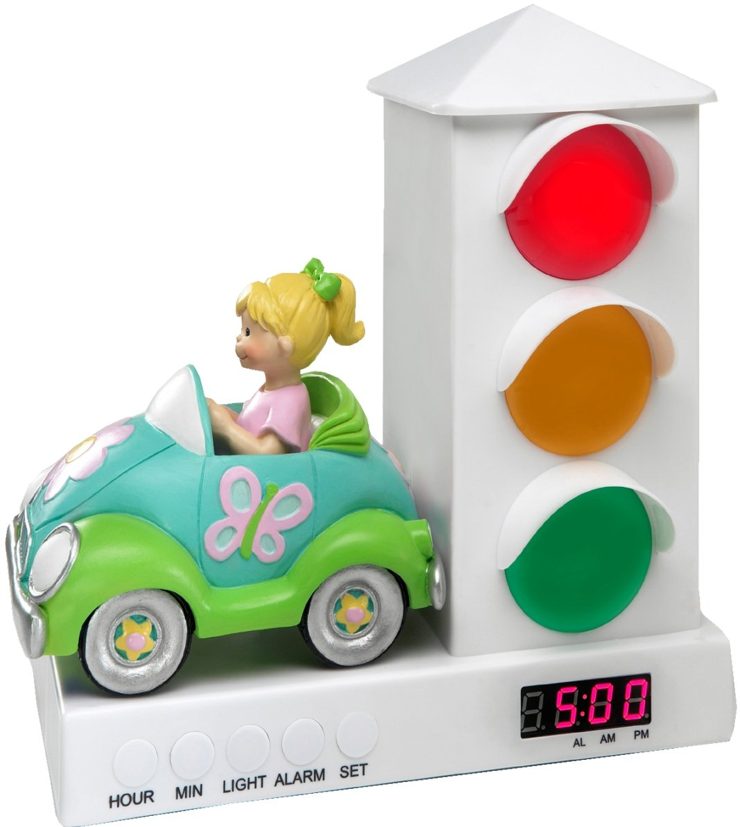 Its About Time Stoplight Sleep Enhancing Alarm Clock Wiring Besides Traffic Signal Light On Old For Kids Purple Pink Owls Home Kitchen