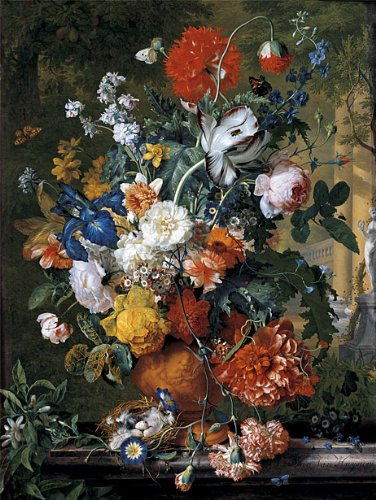 Amazon Huysum Flowers In A Terracotta Vase On A Marble Ledge