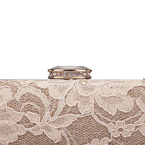 Chichitop Women's Elegant Floral Lace Design Evening Wedding Clutch Handbags Prom Bridal Purse Vintage Style Apricot