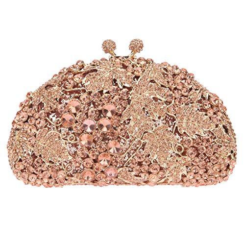 Fawziya Crystal Grape Hard Case Purses Luxury Rhinestone Clutch Evening Bag-Rose - Of Official Kong Hong Name