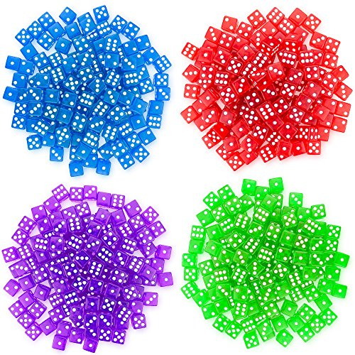 Brybelly 400 Count of 16mm Dice, 6-Sided - Purple, Blue, Green, Red Colored Dice - Great for Board Games & DIY Games
