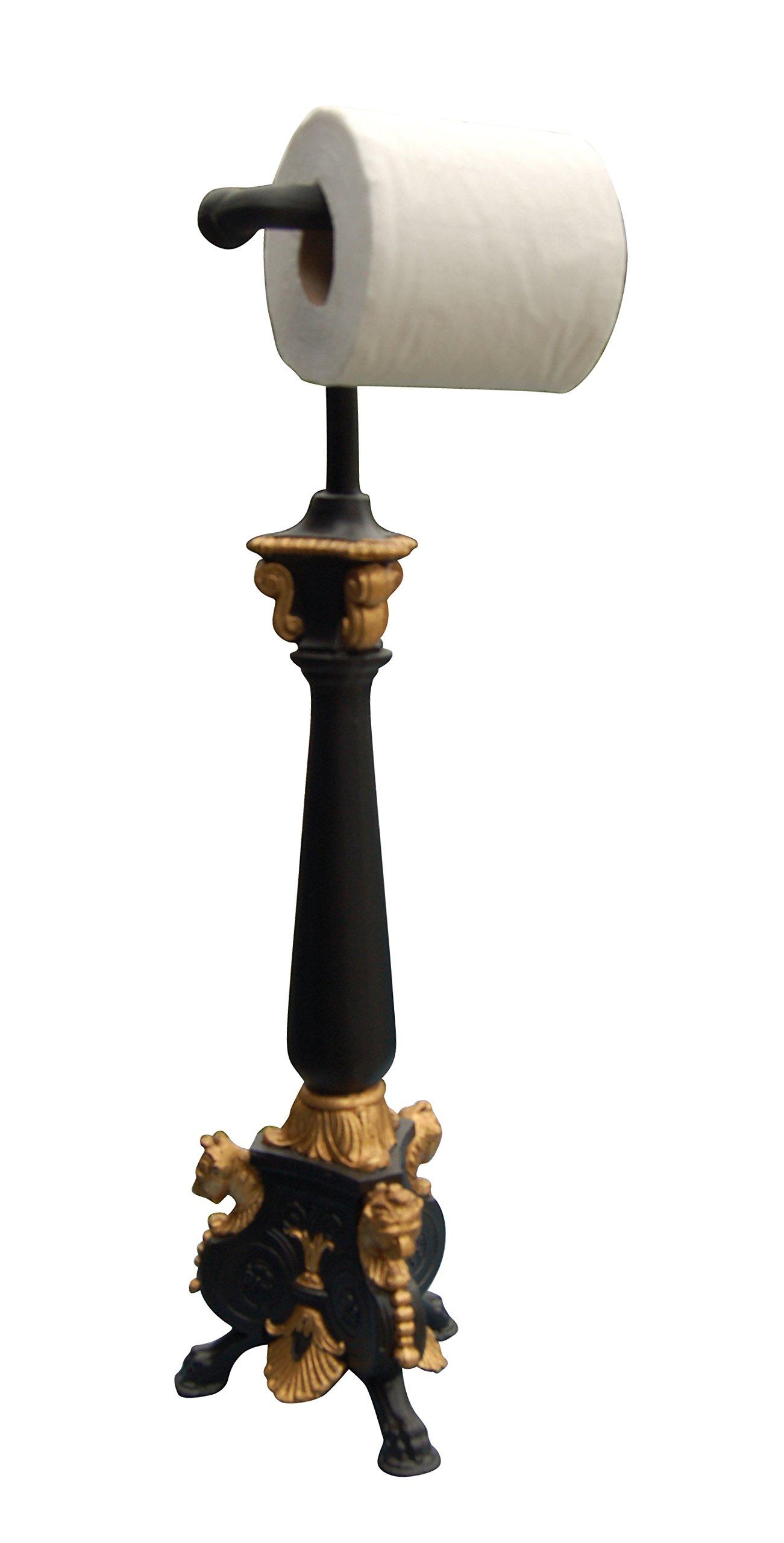 Hickory Manor House Standing Royal Toilet Paper Holder/Gold Leaf Black