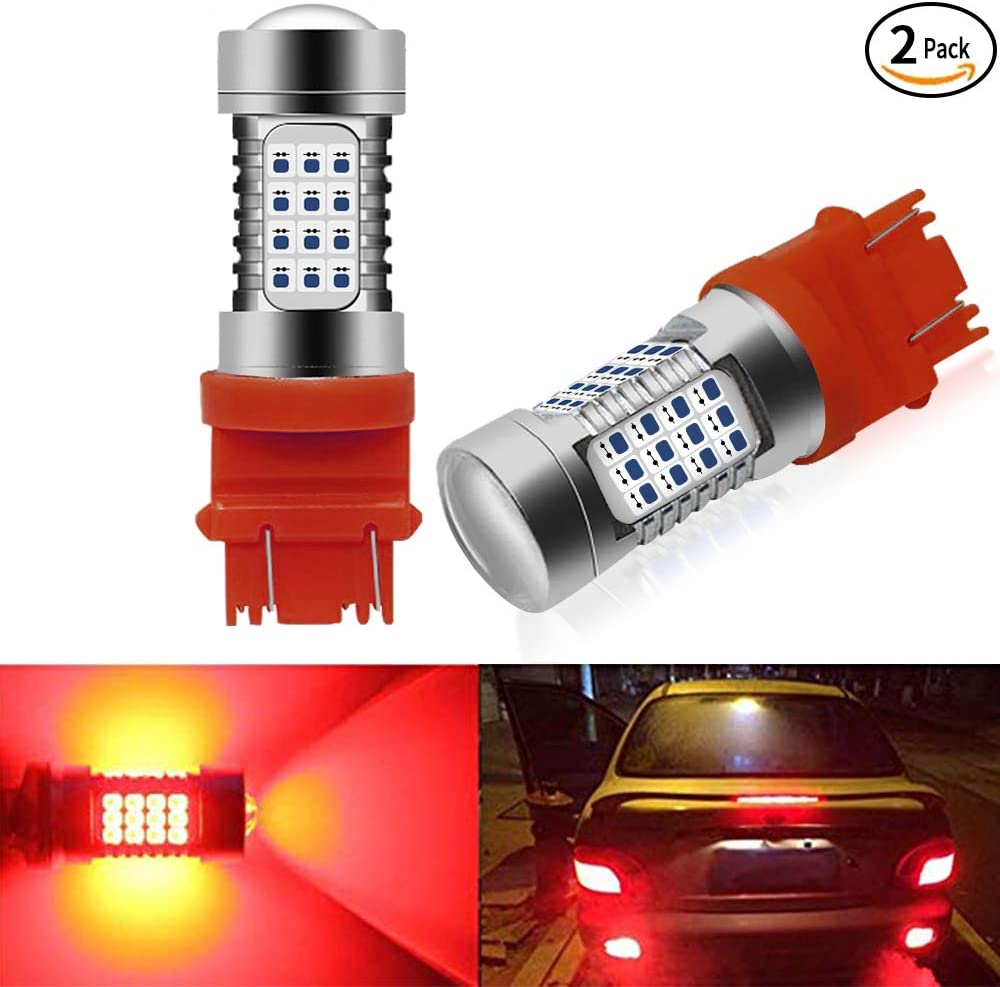 7440//7443 White 7443 LED Bulbs 360 Degree 2000LM 54-SMD LED 6000K Xenon White 7440 7443 992 T20 W21W LED Bulbs Replacement with Projector Lens for Trucks Tail Brake Lights DRL Back-up Reverse Lights