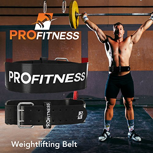 ProFitness Weightlifting Belt (7mm Thick) Premium Buffalo Leather Lumbar Support Belt With Double Prong Belt Buckle Durable Comfortable & Adjustable Lower Back Support & Injury Prevention