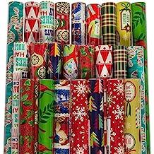 Paper Craft (24 Pack) Christmas Wrapping Paper Jumbo Rolls Bulk Set Variety Pack, 980 sq feet