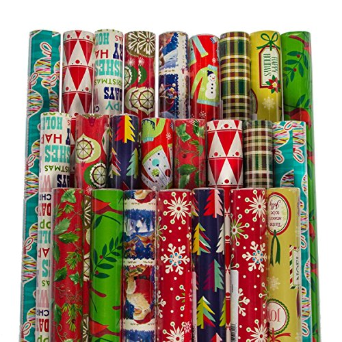 Paper Craft (24 Pack) Christmas Wrapping Paper Jumbo Rolls Bulk Set Variety Pack, 980 sq feet