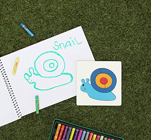 Animal Shaped Wood Jigsaw Puzzle Brain Teaser Game Educational Toys and Games for Kids (Snail) ()
