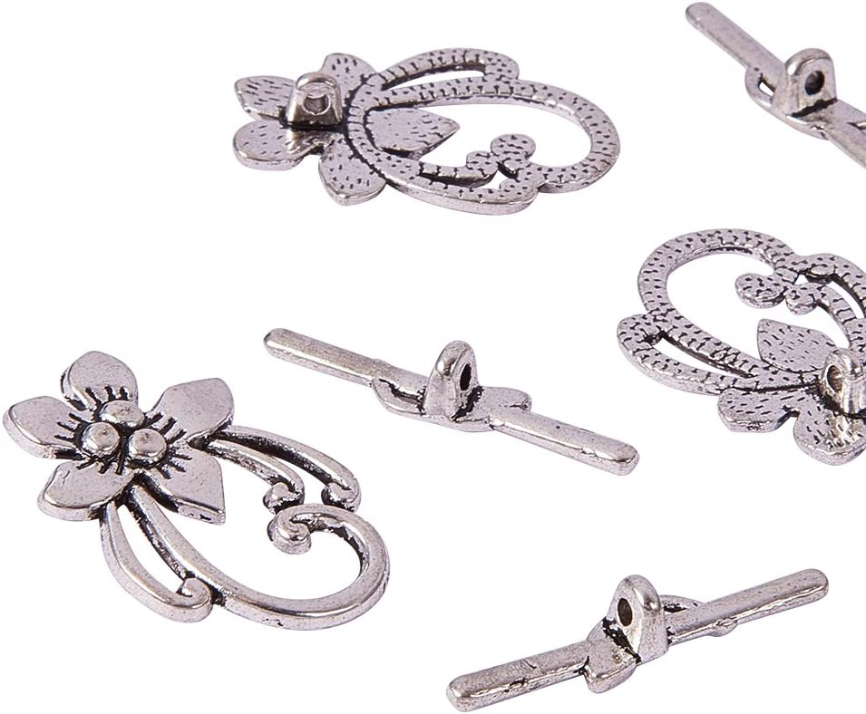 Pandahall 40 Sets 20.5mm Drop Tibetan Silver Toggle Clasps Lead Free and Cadmium Free Antique Silver for Necklace Jewelry Making DIY Crafts Findings