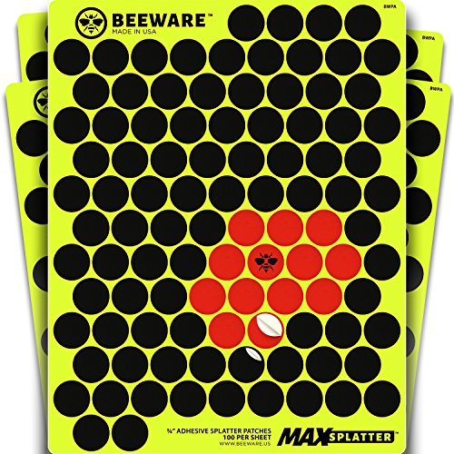 "BEEWARE - 1000 Adhesive Splatter Target Stickers - Cover Up Patches for Shooting Targets - ¾ "" Reactive Peel and Stick Pasters - Rifle - Pistol - Air Rifle - 22 - Pellet - BB Gun - Airsoft Practice"