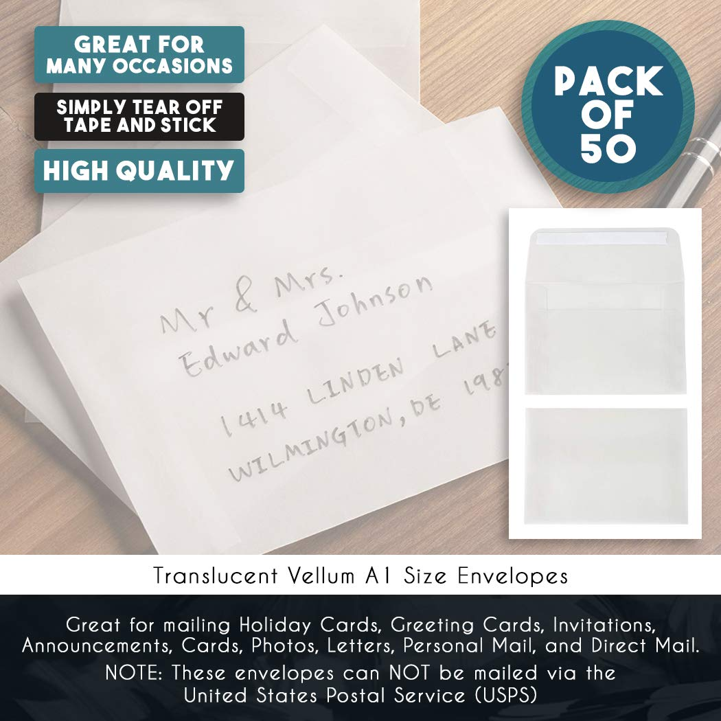 A1 Size Envelopes - 50-Pack Translucent Vellum RSVP Envelopes, Self Seal  Square Flap Envelopes for Wedding and Party Invitations, Announcements,
