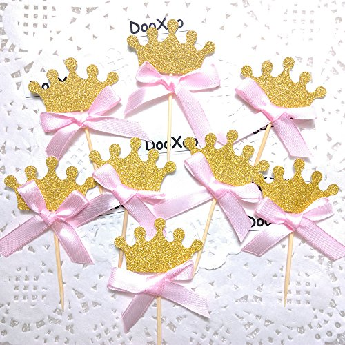 DOOXOO Gold glitter crown cupcake topper with pink bow 1st birthday