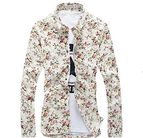いとこ実施する[ミート] メンズ 花柄 ワイシャツ スリム Y シャツ 長袖 白 地 カジュアル なアロハ シャツ 風 大きい サイズ