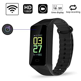 HD 1080p WiFi SPY Mini Hidden Camera Potable Wearable Sports Bracelet Wireless Nanny Security Cam with Loop Recording(Not Include SD Card)