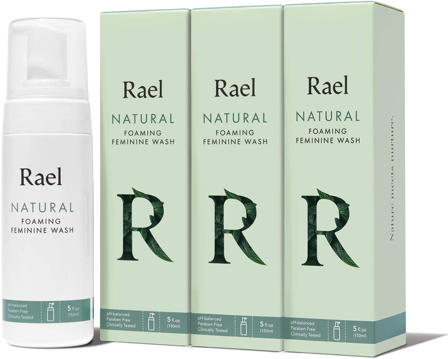 Rael Natural Feminine Cleansing Wash - Gentle Foaming Intimate Wash, pH-Balanced, Sensitive Skin, Scent Free, Daily Cleansing Wash, Natural Ingredients (5oz, 3Pack): Health & Personal Care
