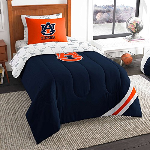 NCAA/NFL Twin Size Applique 5 pc Comforter Set-Many different Teams! (Auburn Tigers, Twin - Bed Set Auburn