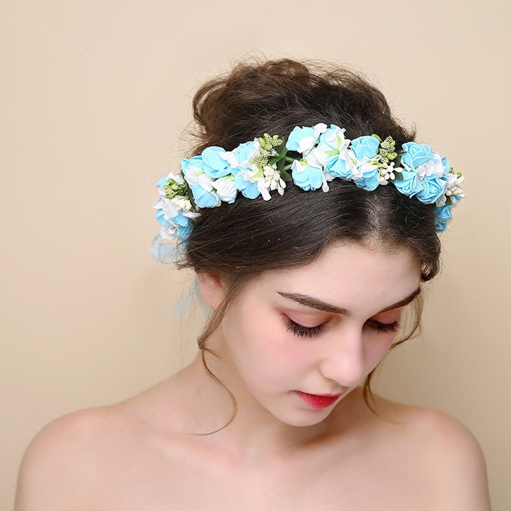 Wreath Flower, Headband Flower Garland Handmade Wedding Bride Party Ribbon Headband Wristband Hairband -Blue (Color : Blue)