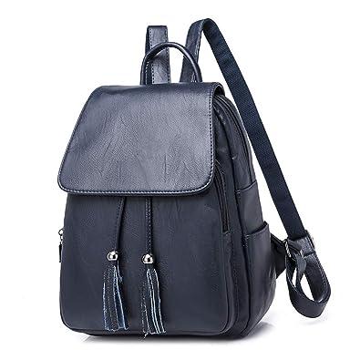 YIMOJI Women Ladies Vintage Tassel Backpack Fashion PU Leather Backpack for  Girls Shoulder School Bag Daypack 43bd9a26debcd