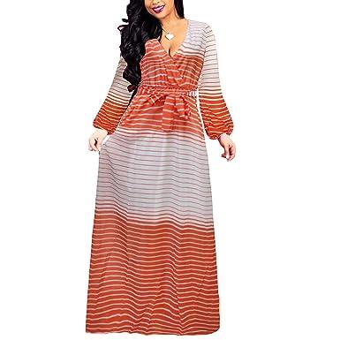 5fce7b75c49 Colorful Rainbow Striped V Neck Maxi Chiffon Plus Size Tie Waist Dress  (Color   Orange