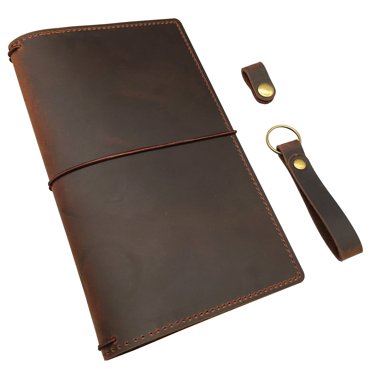 Travelers Notebook Cover with 4 Elastics, Inner Pocket + Card & Pen Holder, Distressed Brown Genuine Leather, Standard Size