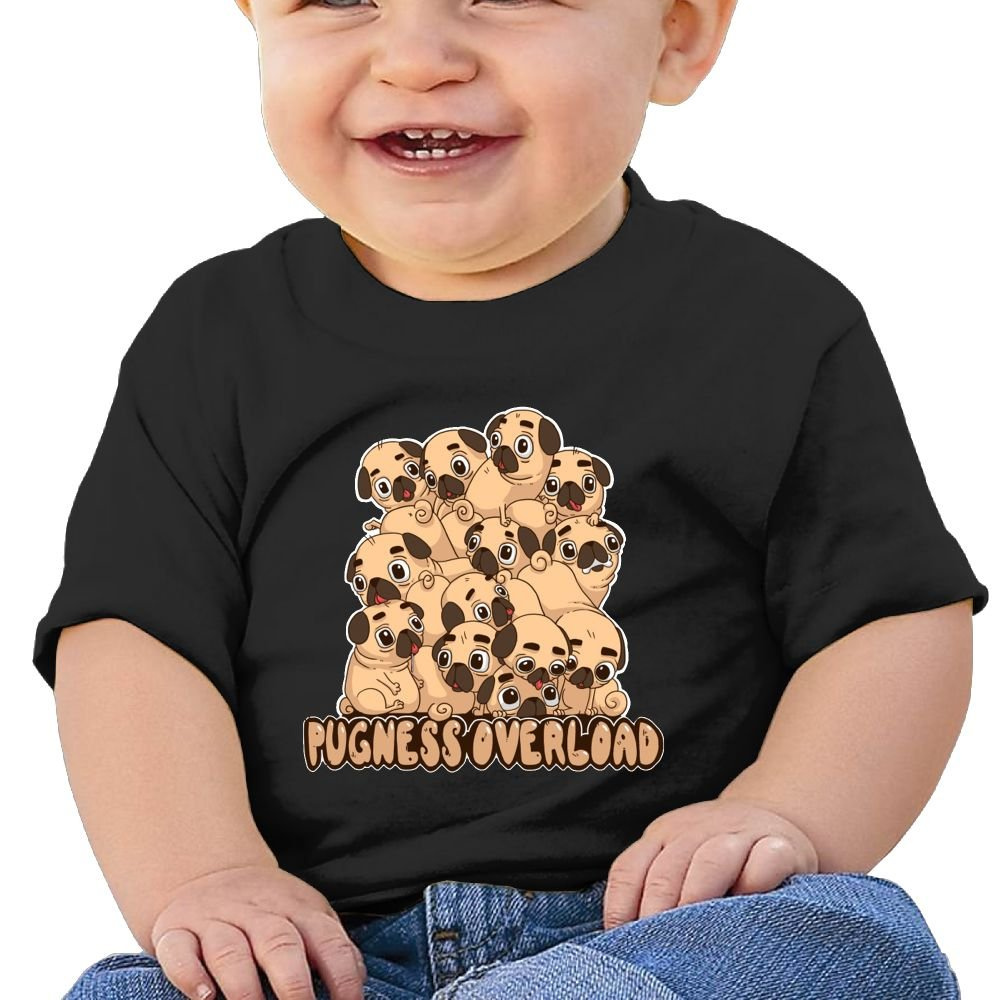 REBELN Pugness Overload Cotton Short Sleeve T Shirts for Baby Toddler Infant