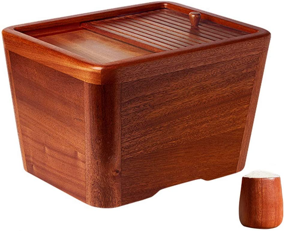 Wooden Rice Bucket with Measuring Cup, 22 Lbs Airtight Wood Rice Cylinder, Food Containers Storage