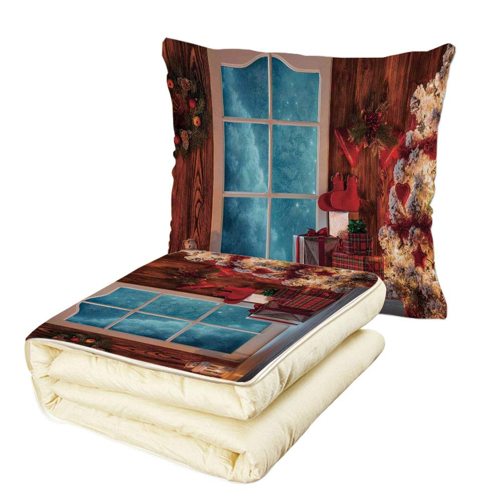 iPrint Quilt Dual-Use Pillow Christmas Xmas Scenery in House with Frozen Window Traditional Ritual Annual Festive Design Multifunctional Air-Conditioning Quilt Red Blue