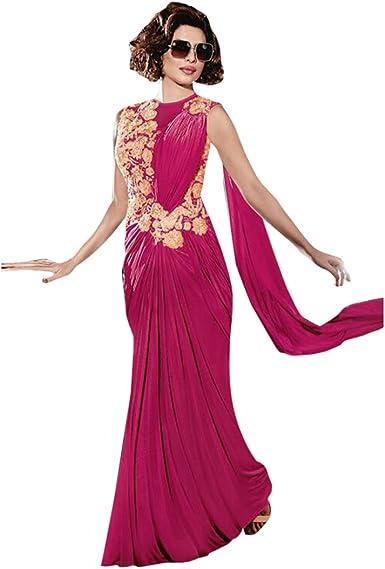ETHNIC EMPORIUM Vestido étnico de la India Bollywood Vestido Listo para Usar Vestido de Falda Sari Saree Vestido de Novia Camisa de Vestir Camisa de Licra Camisa Personalizada 2735 JN: Amazon.es: Ropa