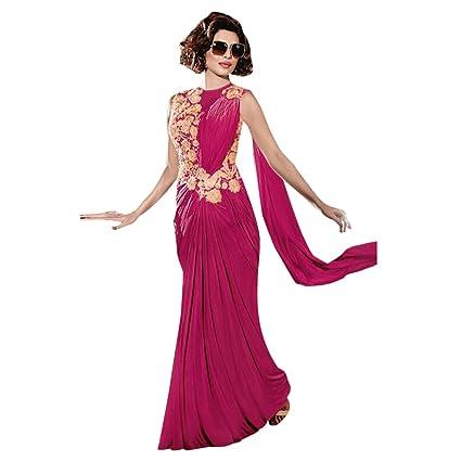 4ac25e0ec1c4 Amazon.com: Bollywood Priyanka Chopra Lycra Gown Saree Draped Sari Blouse  Party Timeless Hit ((S-36), Magenta): Home Improvement