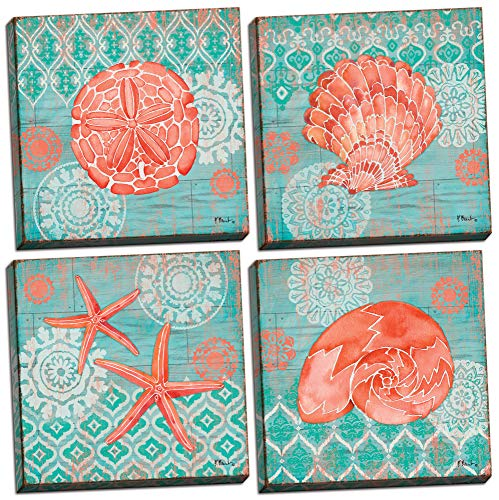 Gango Home D cor 4 Lovely Teal and Coral Watercolor-Style Ocean Seashell Sand Dollar and Star Fish Collage Poster Prints Nautical Decor, Four 12 by 12-Inch Hand-Stretched Canvases