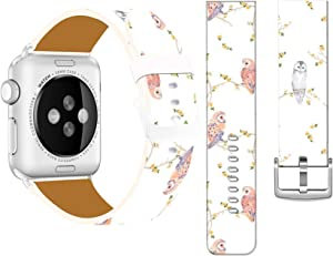 Bands Compatible with Iwatch 40mm/38mm & Cisland Leather Strap Compatible with Apple Watch Series 1/2/3/4/5/6/SE Sport & Edition Beautiful Cute Owls On Flower Trees Pattern Animal