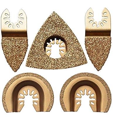 XXGO 5 Pcs Mixed Triangular Semicircle Finger Oscillating Tool Blades Carbide Fits Multi-Tools