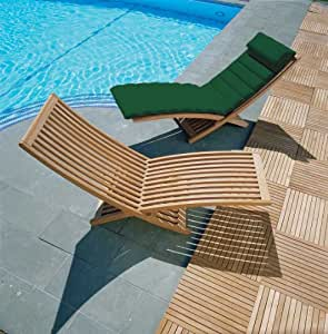 ST TROPEZ Contemporary Sun Lounger with Cushion (Green) - Jati Brand, Quality & Value