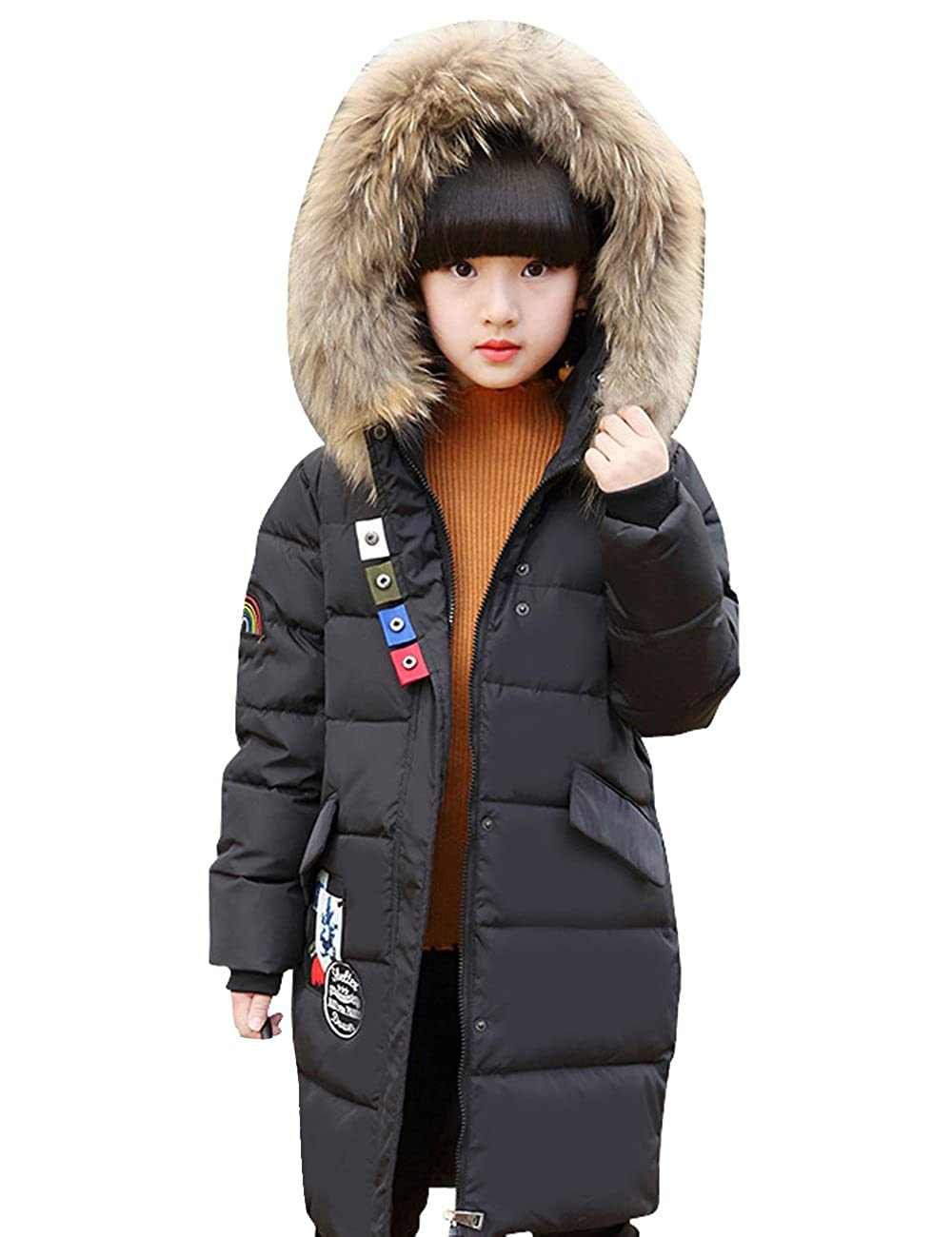 CUKKE Girl's Down Jacket Hooded Winter Warm Coat (150, Black) wuxi shuailande trade CK-YHQ-8832-BLCK-150