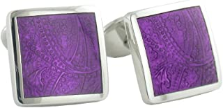 product image for David Donahue Sterling Paisley Cufflinks - Light Purple (H95030202)