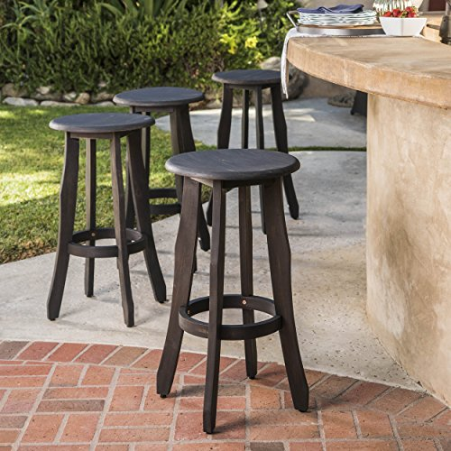 Primrose Outdoor Dark Grey Finished Acacia Wood Barstools (Set of 4)