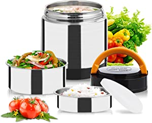Vacuum Lunch Container Stainless Steel, Food Thermos Lunch Box Container Jar, Double Insulated Food Carrier, Stackable Bento Box for School Work Travel Hiking Camping Picnics