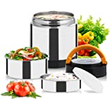 Vacuum Lunch Container Stainless Steel, Food Thermos Lunch Box Container Jar, Double Insulated Food Carrier, Stackable Bento Box for School Work Travel Hiking Camping Picnics, 1.4L